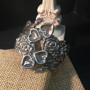 Jewelry - Antonio Reina Sterling Roses Hearts Hands Bracelet